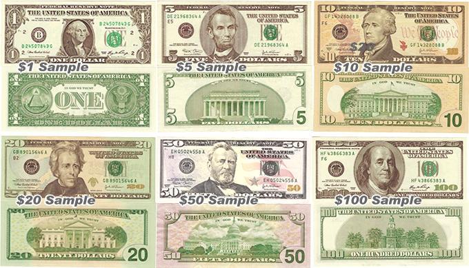 アメリカのドル紙幣の種類