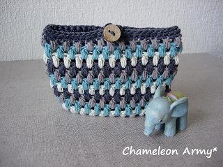 玉編みポーチ