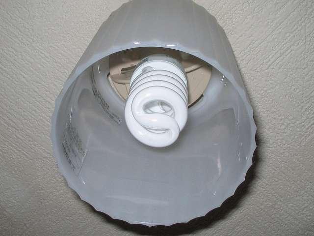 NEC 電球形蛍光ランプ D形 コスモボール 昼白色 60W相当タイプ 口金E26 EFD15EN/12-C5、パナソニック電工 小型シーリングライト LB55519 に取り付けたところ