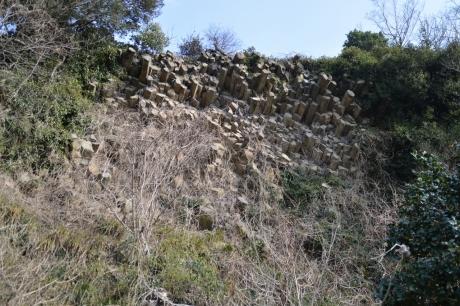 珍しい玄武岩の柱状節理