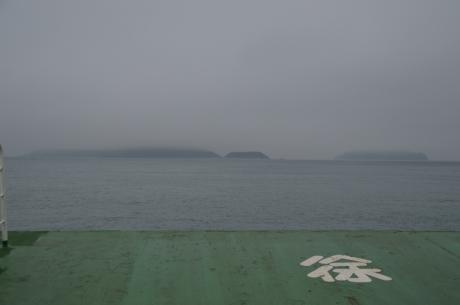 3霧の中大久野島へ