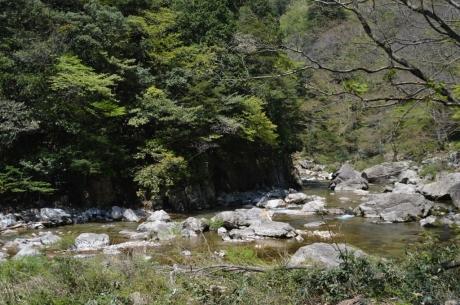 10色づく山と岩と川