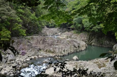 15岩の間を蛇行する川
