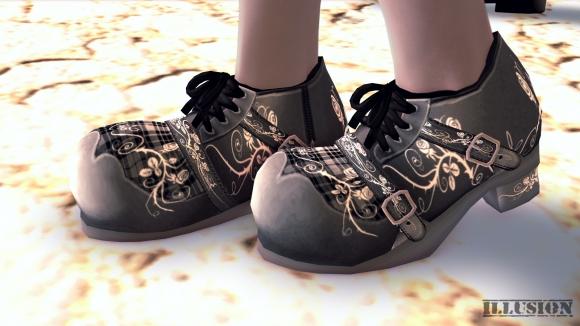 ゴスロリ風な薔薇刺繍の靴 SS
