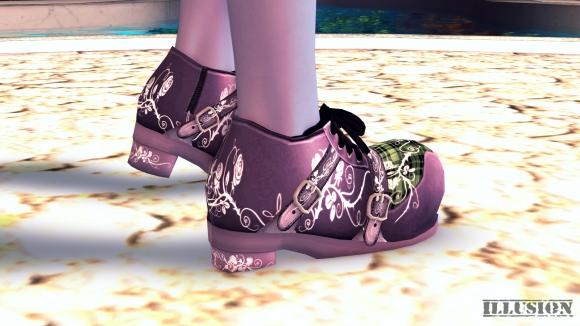 ゴスロリ風な薔薇刺繍の靴 SS 色違い