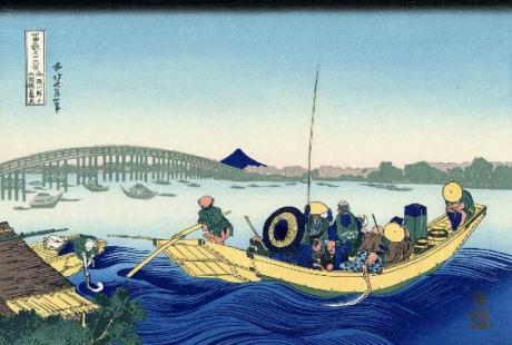 12. 御厩川岸より両國橋夕陽見(おんまやがしよりりょうごくばしゆうひみ)