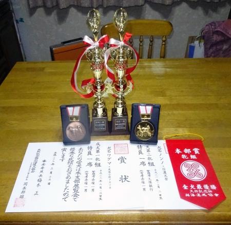 DSC01280受賞トロフィーと賞状・メダル右がノンノ、左がワグマ