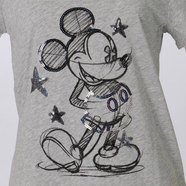 ミッキーマウスのカットソーのスパンコール部分