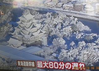 名古屋城も雪