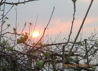 雲間から日の出