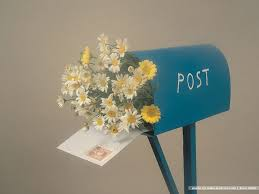 post box with flowers