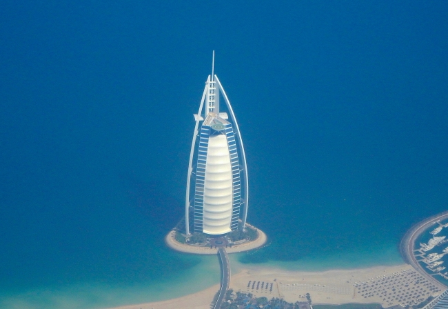 Burj Al Arab from the air