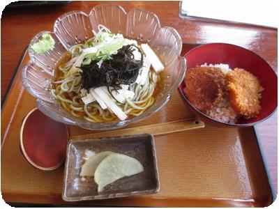 山芋と佐渡もずくからむし麺+タレカツ小丼