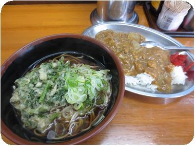 春菊そば+カレーセット