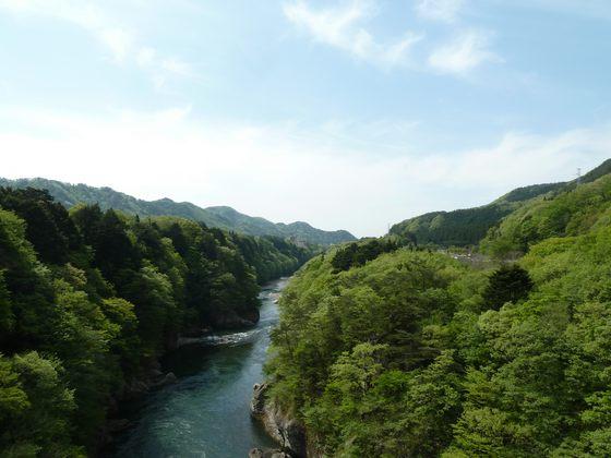鬼怒楯岩大吊橋から眺める鬼怒川の流れ
