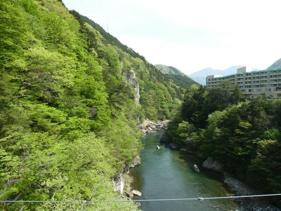 鬼怒楯岩大吊橋から眺める楯岩