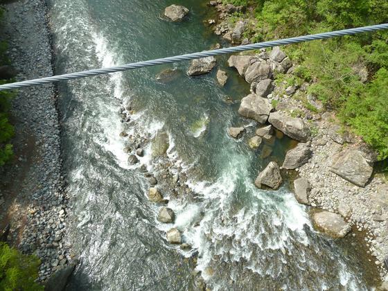橋の下を流れる急流