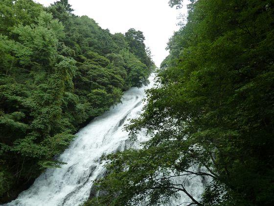 勢い良く流れ落ちる湯滝