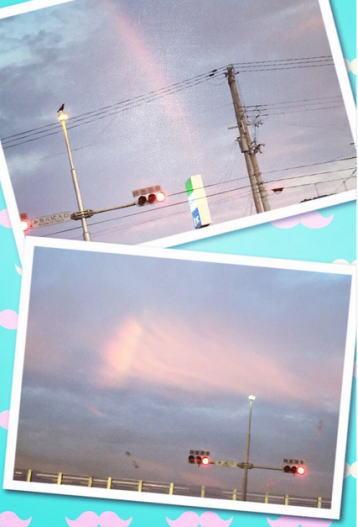虹 朝焼け
