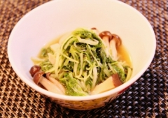 簡単☆水菜と茸のあっさり煮浸しゆず胡椒で (350x247)
