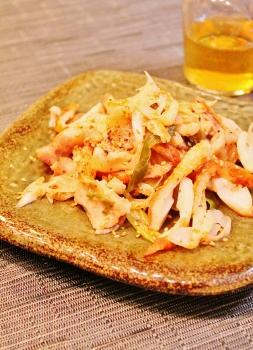 豚肉と長葱、竹輪の甘酢ニンニク炒め (253x350)