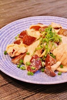 茄子と豚肉とキノコの甘酢炒め (235x350)