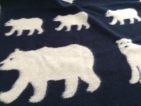 北欧風ファブリック 北欧風生地 シロクマ ウール混ジャガードニット生地 白くま 白クマ シュゲール SALE セール