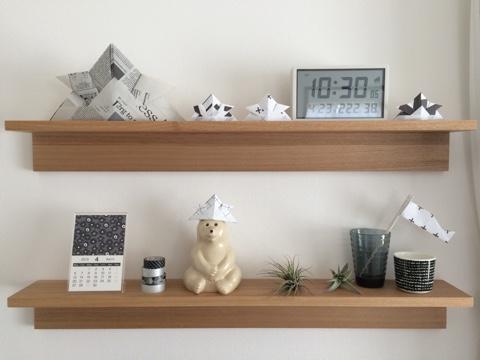 無印良品 良品週間 壁に付けられる家具・棚 リビング ディスプレイ 飾り棚 子供の日 こどもの日 五月飾り モノトーン 北欧 手作り雑貨 折り紙 おりがみ