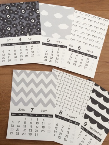モノトーン カレンダー 2015 無料 ポストカード
