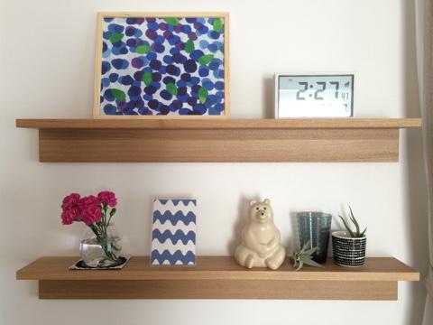 無印良品 壁に付けられる家具・棚 幅88cm リビング 飾り棚 ディスプレイ 夏 マリメッコ marimekko MUSTIKKAMAA 廃盤生地