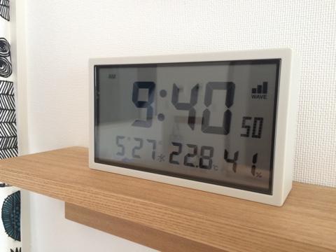 無印良品 ソーラー電波デジタルクロック 温湿度計 カレンダー機能付 置時計 壁掛可 無印 時計 シンプル デジタル時計 リビング