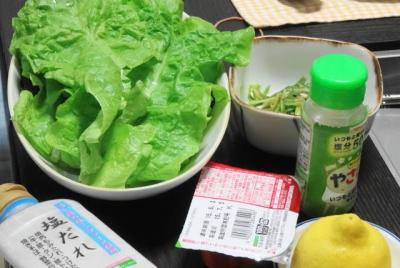 サンチェ・塩だれ、葱ナムル・キムチ、レモン、塩