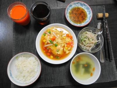 つゆだく芙蓉蟹の夕食