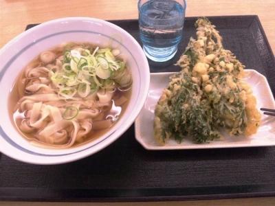 150326どんどん庵名駅西店きしめん290円と春菊天90円