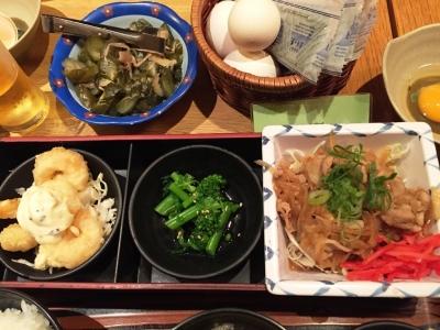 150331小ぼけ弁当880円豚生姜焼と小海老天胡麻マヨネーズ