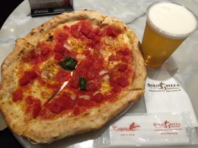 150414ソロピッツァナポレターナ大須本店マリナーラ350円とビール350円