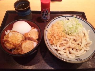 150415四代目横井製麺所レジャック店ミニ鶏玉丼セット530円