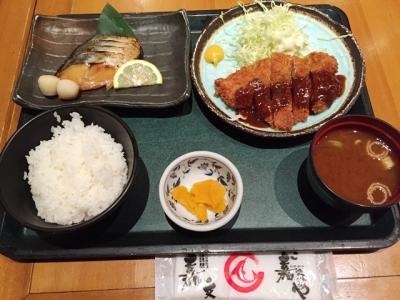 150511さ嘉なやオアシス店選べる2品ランチ950円鰆の幽庵焼と味噌カツ