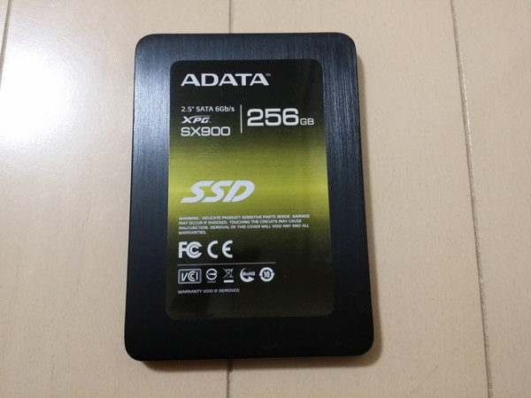 ADATA製SSD(ASX900S3-256GM-C[7mm])
