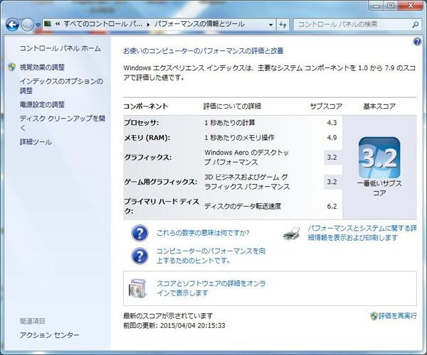 dynabookのWindowsエクスペリエンスインデックス(SSD交換後)