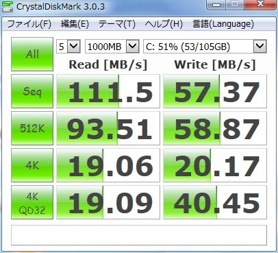 dynabookのCrystalDiskMark(SSD交換後)