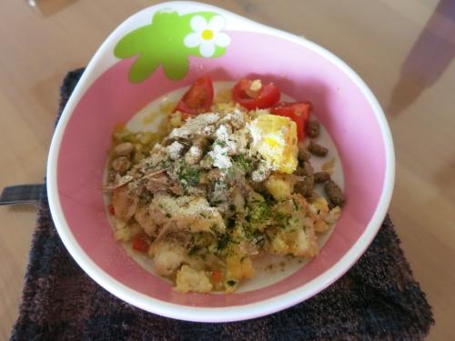 朝ご飯 納豆と卵とじご飯