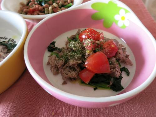 朝ご飯 牛スジのトマトサラダ