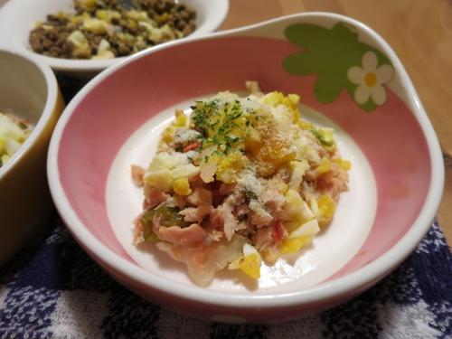 夜ご飯 サーモンのホイール焼き+ポーチドエッグ