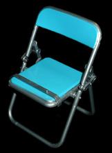 エール リアル折りたたみパイプ椅子 スカイブルー