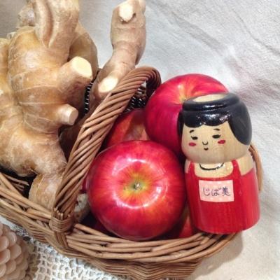 じば美ちゃんとりんごと生姜