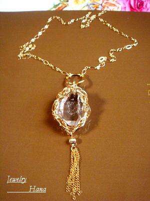 大粒NY産ハーキマーダイヤモンド 14KGFネックレス スタイリッシュでモダンなデザインネックレス