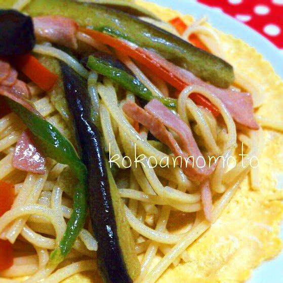 彩り野菜のパスタ