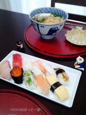 讃岐うどんと握り寿司ランチ2