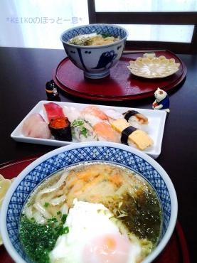 讃岐うどんと握り寿司ランチ3
